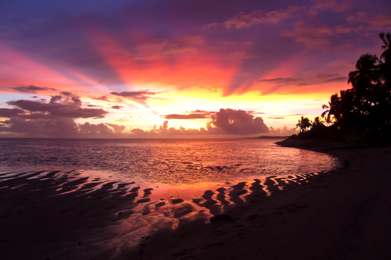 "SUNSET FROM THE FIJI CORAL COAST RESORT ""THE OUTRIGGER"""