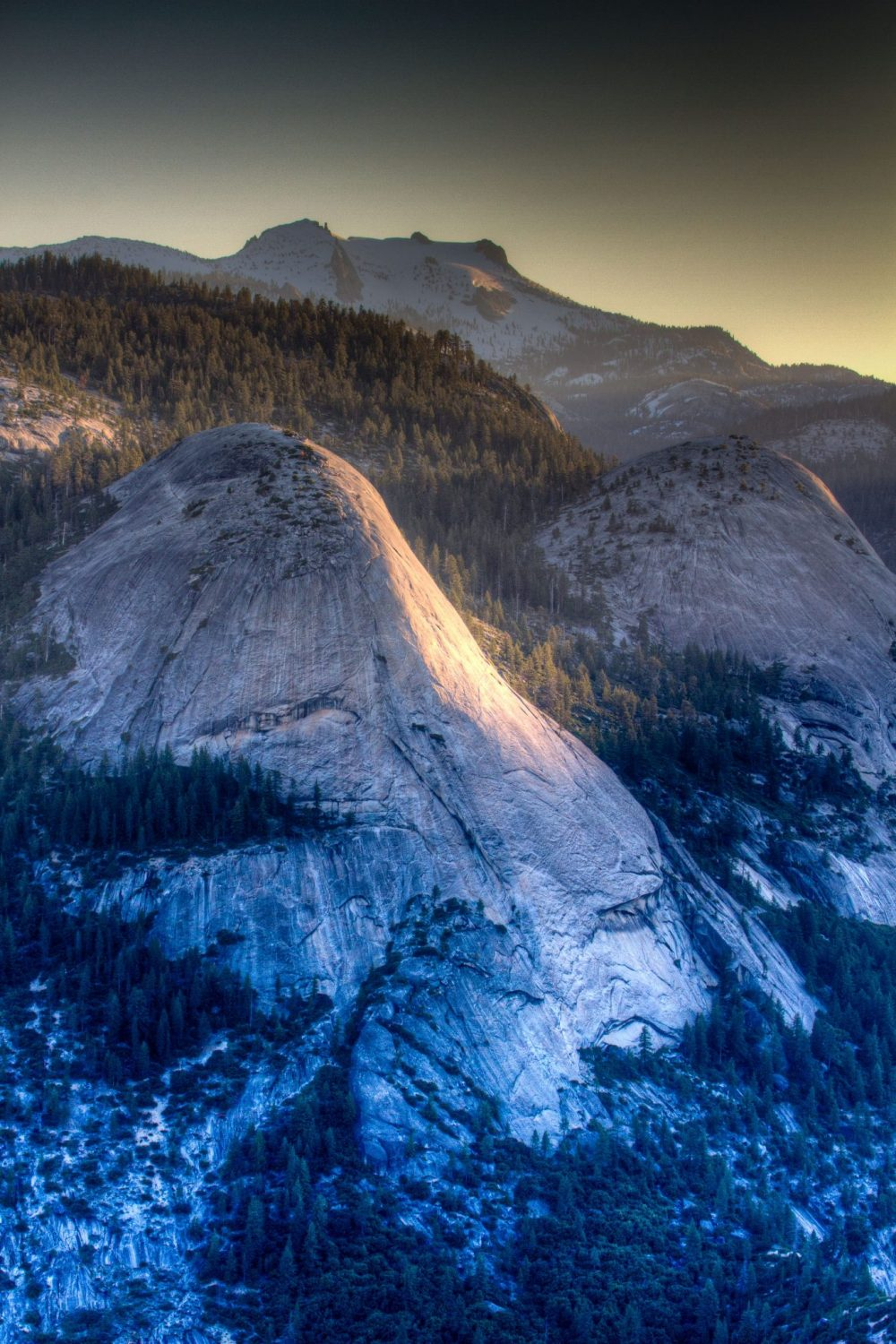 First light kisses North Dome in Yosemite National PArk