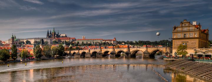 Charles Bridge in Prague, daytime panorama