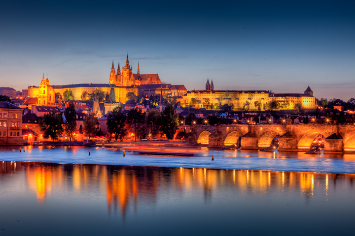 Prague Castle just after sunset