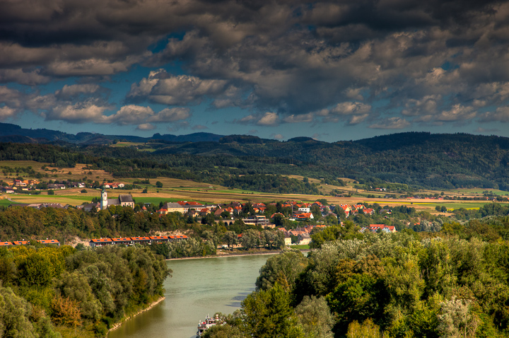 Danube River and Valley seen from Stift Melt Monestary