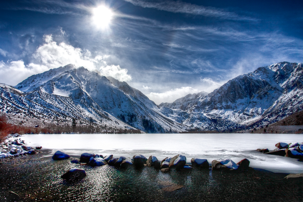 Convict Lake Covered in Snow