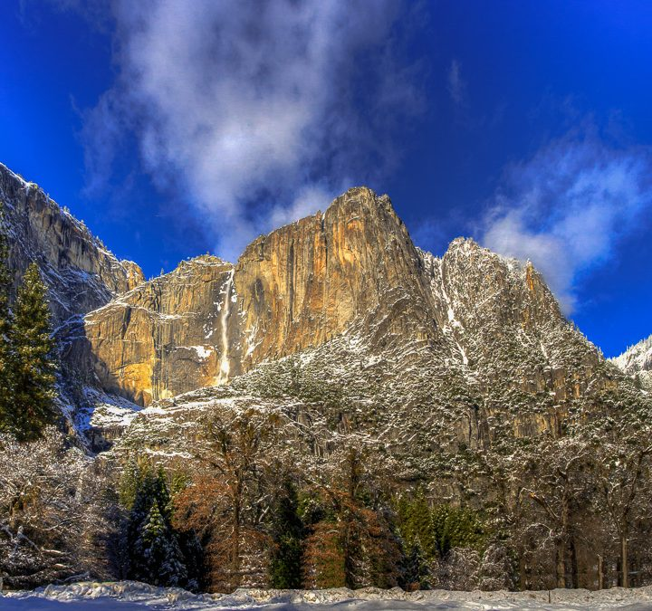 Yosemite Falls in Snow Blanket