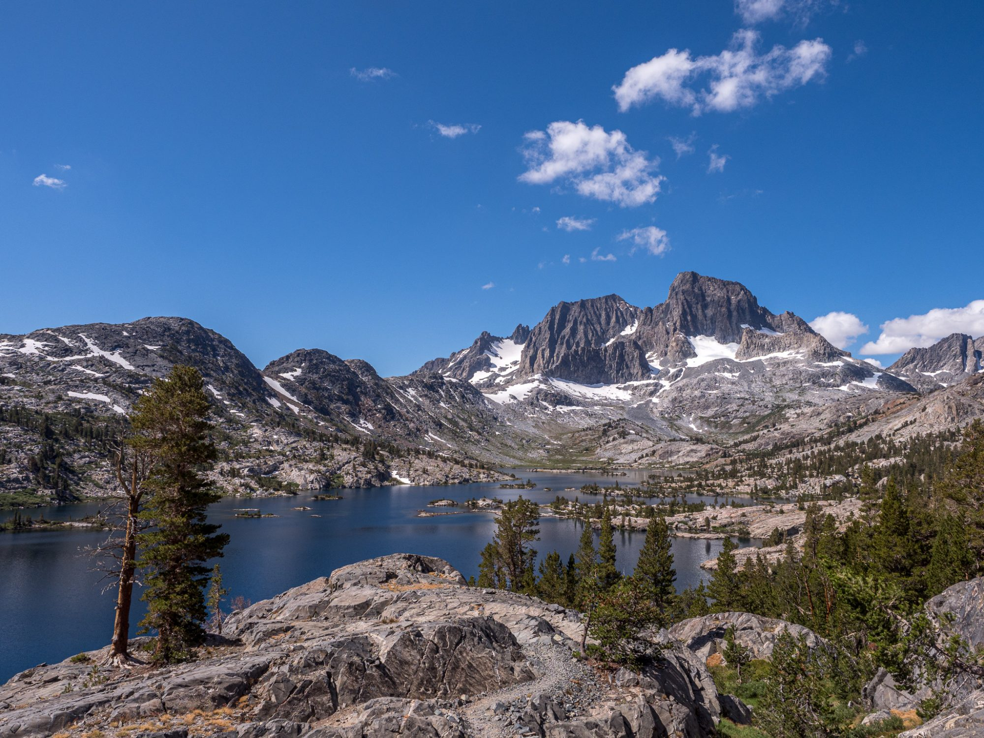 Garnet Lake below Mt. Ritter and Mt. Banner IN ANSEL Adams Wilderness