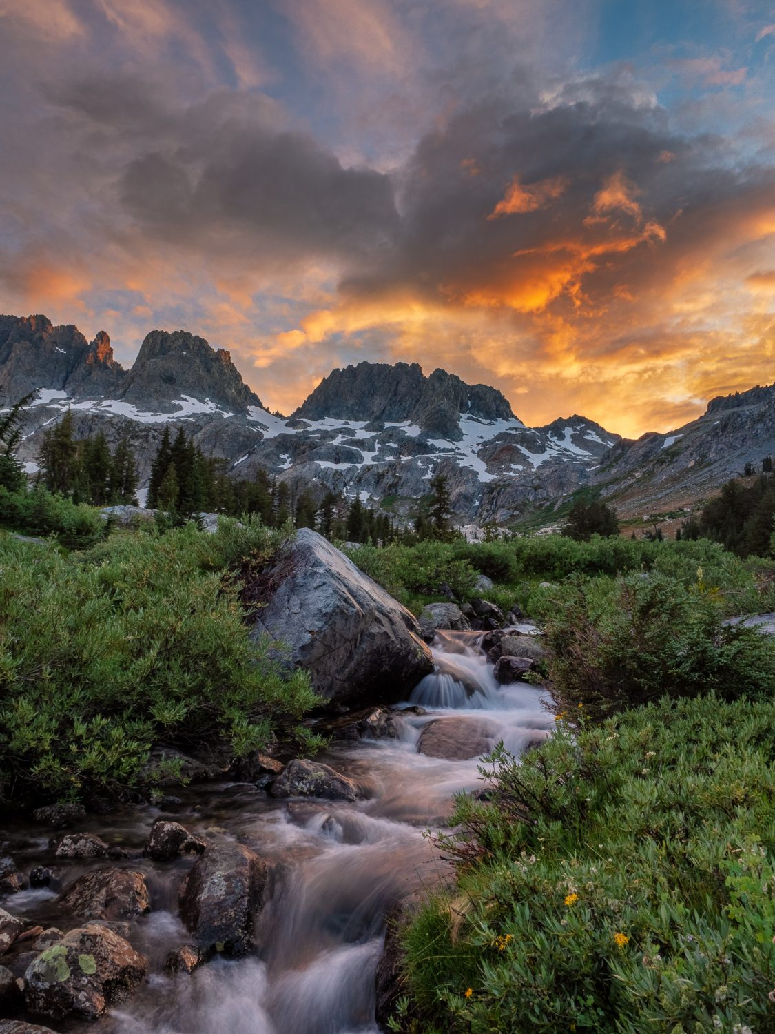 The Minarets at Sunset along upper Shadow Creek Above Ediza Lake