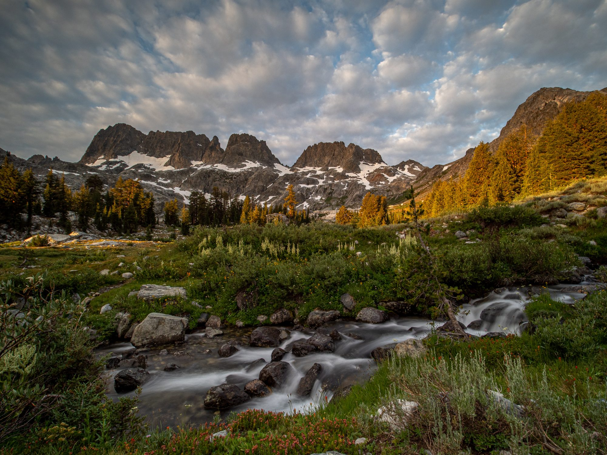 The Minarets at Sunrise along upper Shadow Creek Above Ediza Lake